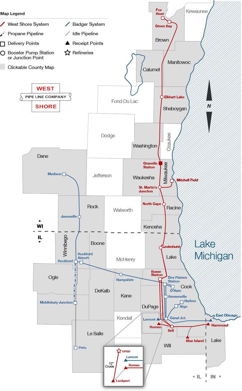 County Maps | West Shore Pipeline Company